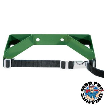 Anthony Cylinder Wall Brackets, Single with Strap, Steel, 7 in to 9 1/2 in, Green (1 EA/EA)