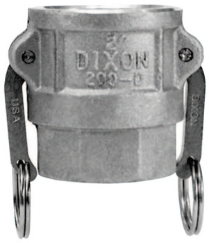 Dixon Valve Andrews Type D Cam and Groove Couplers, 3 in (NPT), Female, Stainless Steel (5 BOX/EA)