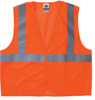 Ergodyne GloWear 8210HL Class 2 Economy Vests w/Pocket, Hook/Loop Closure, L/XL, Orange (1 EA/EA)