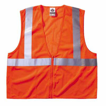 Ergodyne GloWear 8210Z Class 2 Economy Vests with Pocket, Zipper Closure, 4XL/5XL, Orange (6 EA/PK)