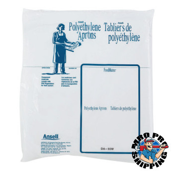 Ansell Disposable Polyethylene Aprons, 28 in X 55 in, Polyethylene, White (1 DI/EA)