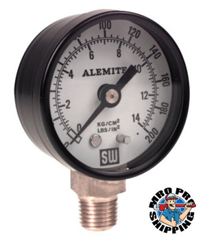 Alemite Air Pressure Gauge, 200 psi, 1/4 in NPT(M), Back Mount (1 EA/BX)