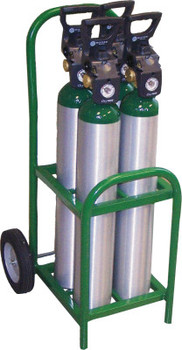 "Saf-T-Cart Medical Series Carts, Holds 4 D/E Cylinders, 8"" Semi-Pneumatic, Steel Wheels (1 EA/EA)"