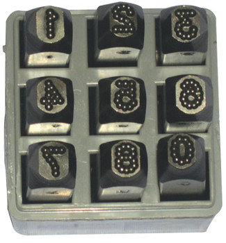 C.H. Hanson Low Stress Dot Design Steel Hand Stamp Sets, 1/4 in, 0 thru 8; A thru Z (1 SET/EA)