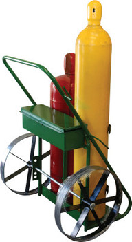 "Saf-T-Cart 400 Series Carts, Holds 9.5""-12.5"" dia. Cylinders, 20"" Steel Wheels, Toolbox (1 EA/EA)"