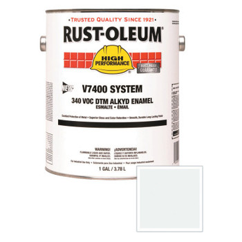 Rust-Oleum Industrial High Performance V7400 System DTM Alkyd Enamel, 1 Gal, White, Semi-Gloss (2 CN/EA)
