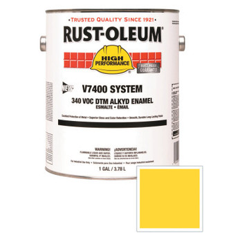 Rust-Oleum Industrial High Performance V7400 System DTM Alkyd Enamel, 1 Gal, Yellow, High-Gloss (2 CN/EA)