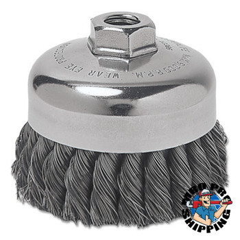 Anchor Products Heavy-Duty Knot-Style Cup Brushes, 4 in Dia., 0.025 in Carbon Steel Wire, Bulk (1 EA/EA)