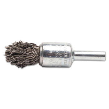 Weiler Crimped Wire End Brushes, Steel, 1/2 in, 0.02 in, 25000 rpm (10 BX/EA)