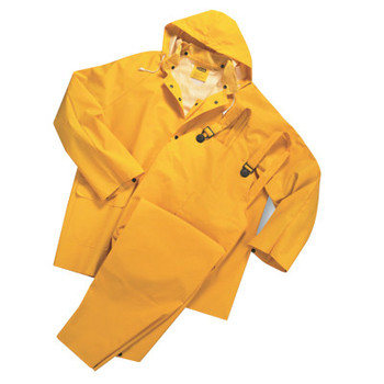 West Chester 3-Piece Rainsuits, Jacket/Hood/Overalls, 0.35 mm, PVC/Polyester, Yellow, 3X-L (10 EA/EA)