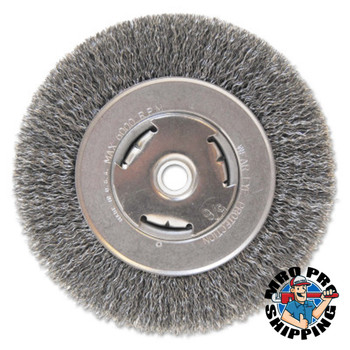 "Anchor Products Light Duty Crimped Wheel Brushes, 6 D x 7/8 W, 0.014 Carbon Steel, 5/8"" - 1/2"" (1 EA/EA)"