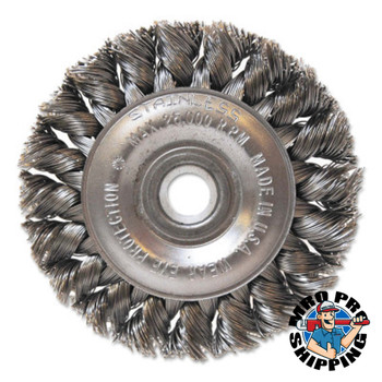 "Anchor Products Aggressive Cleaning Knot Wheel Brush, 3"" D x 3/8"" W, 0.014"" Carbon Steel, 1/2"" (1 CG/EA)"