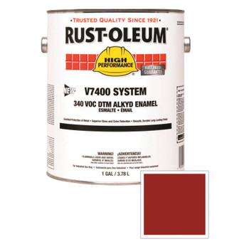 Rust-Oleum Industrial High Performance V7400 System DTM Alkyd Enamel, 1 Gal, Fire Hdrnt Red, High-Glss (2 CN/EA)