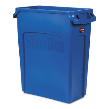 Newell Rubbermaid Slim Jim Containers with Venting Channels, 16 gal, Resin, Blue (1 EA/PK)