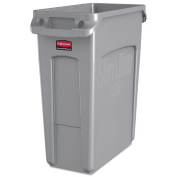 Newell Rubbermaid Slim Jim Containers with Venting Channels, 16 gal, Resin, Gray (1 EA/EA)