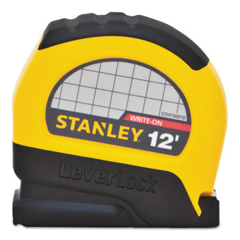 Stanley Products LeverLock Tape Measures, 1 in x 26 ft, Metric, Black/Yellow (1 EA/EA)