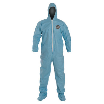 DuPont Tempro Coveralls with Attached Hood and Integrated Socks, Blue, X-Large (25 CA/EA)