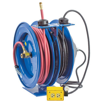 Coxreels C Series Combination Spring Driven Air Hose Reels, 3/8 in x 50 ft,12 AWG (1 EA/EA)