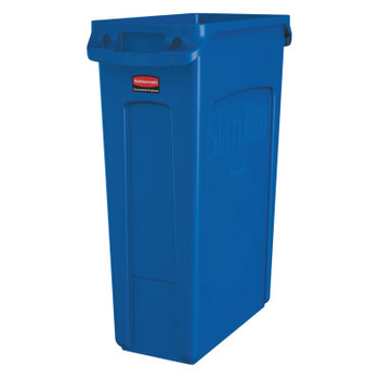 Newell Rubbermaid Slim Jim with Venting Channels, 23 gal, Resin, Blue (1 EA/PK)