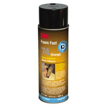 3M FoamFast 74 Spray Adhesives, 16.9 oz Inverted Spray, Orange (12 CA/EA)