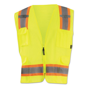 OccuNomix High Visibility Two-Tone Surveyor X Back Mesh Vests, Small, Yellow (1 EA/EA)