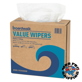 Boardwalk DRC Wipers, White, 9 x 16 1/2, 9 Dispensers of 100 (1 CT/PK)