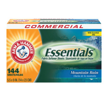 Church & Dwight Co. Essentials Dryer Sheets, Mountain Rain, 144 Sheets/Box (1 CT/PAK)
