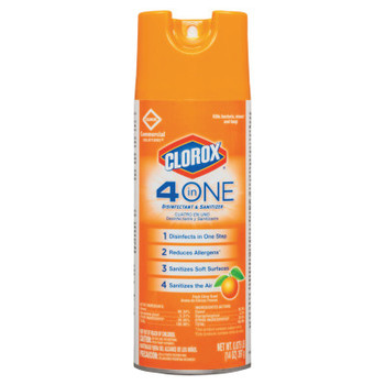 Clorox 4-in-One Disinfectant & Sanitizer, Citrus, 14oz Aerosol (12 CT/EA)