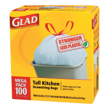 Clorox Tall Kitchen Drawstring Bags, 24 x 27 3/8, 13gal, .95mil, White (1 CT/PK)