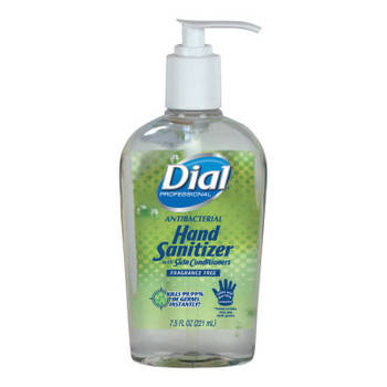 DIAL PROFESSIONAL Antibacterial Gel Hand Sanitizer with Moisturizers, 7.5oz Pump Bottle (12 CT/EA)