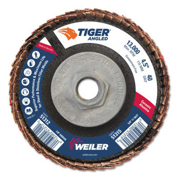 Weiler Tiger Ceramic Angled Flap Discs, 5/8 in - 11, 40 Grit, 10 per Box (10 BX/EA)