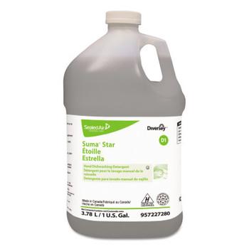 Diversey Suma Star D1 Hand Dishwashing Detergent, Unscented, 1 gal Bottle, 4/Case (4 CT/EA)