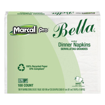 MARCAL PRO 100% Premium Recycled Bella Dinner Napkins, 15 x 17, White (1 CT/EA)