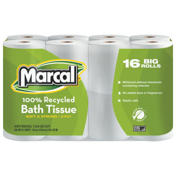 MARCAL PAPER 100% Recycled Two-Ply Bath Tissue, White (96 CT/EA)