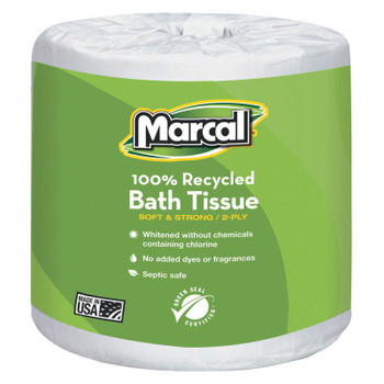 MARCAL PAPER 100% Recycled Two-Ply Bath Tissue, White (48 CT/EA)