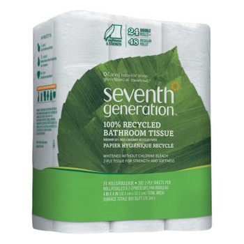 SEVENTH GENERATION 100% Recycled Bathroom Tissue, 2-Ply, White, 300 Sheets/Roll (2 PK/CS)