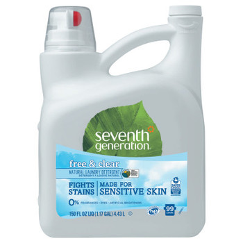 SEVENTH GENERATION Natural 2X Concentrate Liquid Laundry Detergent, Free & Clear, 99 loads, 150oz (4 CT/EA)