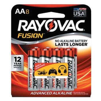 Rayovac FUSION Advanced Alkaline Batteries, AA, 1.5 V (8 PK/GAL)