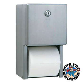 BOBRICK WASHROOM Stainless Steel Two-Roll Tissue Dispenser, 6 1/4w x 6d x 11h, Stainless Steel (6 EA/CA)