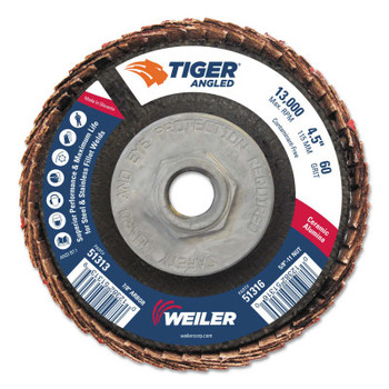 Weiler Tiger Ceramic Angled Flap Discs, 5/8 in - 11, 60 Grit, 10 per Box (10 BX/CT)