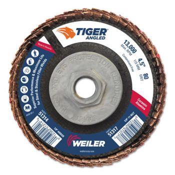 Weiler Tiger Ceramic Angled Flap Discs, 5/8 in - 11, 80 Grit, 10 per Box (10 BX/CA)