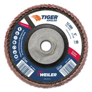 Weiler Tiger Ceramic Angled Flap Discs, 5 in Dia, 80 Grit, 5/8 in-11 Arbor, 12000 rpm (10 BX/CT)