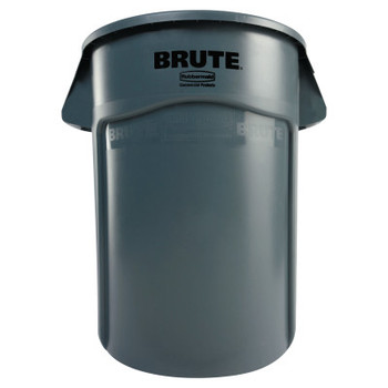 Newell Rubbermaid Brute Vented Trash Receptacle, Round, 44 gal, Gray (4 CT/EA)