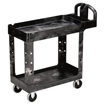 RUBBERMAID COMMERCIAL PROD. Heavy-Duty Utility Cart, Two-Shelf, 17-1/8w x 38-1/2d x 38-7/8h, Black (1 EA/EA)