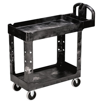 RUBBERMAID COMMERCIAL PROD. Heavy-Duty Utility Cart, Two-Shelf, 17-1/8w x 38-1/2d x 38-7/8h, Black (1 EA/EA)