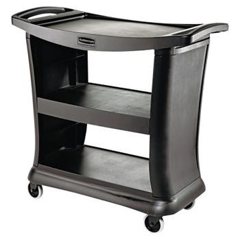 RUBBERMAID COMMERCIAL PROD. Executive Service Cart, Three-Shelf, 20-1/3w x 38-9/10d, Black (1 EA/EA)