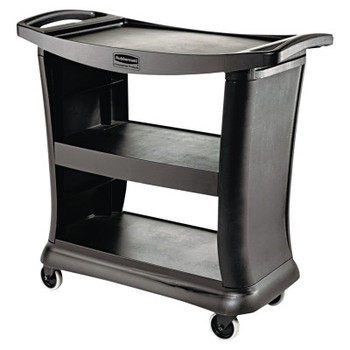RUBBERMAID COMMERCIAL PROD. Executive Service Cart, Three-Shelf, 20-1/3w x 38-9/10d, Black (1 EA/EA)