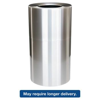Newell Rubbermaid 2-Piece Open Top Indoor Receptacle, Round, w/Liner, Satin Aluminum, 35 gal (1 EA/EA)