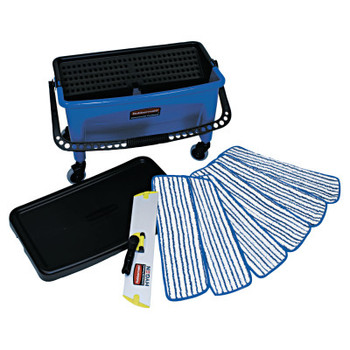 RUBBERMAID COMMERCIAL PROD. Microfiber Floor Finishing System, 27gal, Blue/Black/White (1 EA/EA)