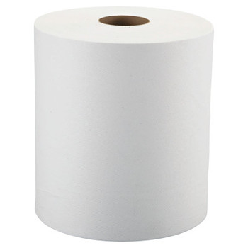 """Windsoft Nonperforated Roll Towels, 1-Ply, White, 8"""" x 800ft (6 CT/EA)"""